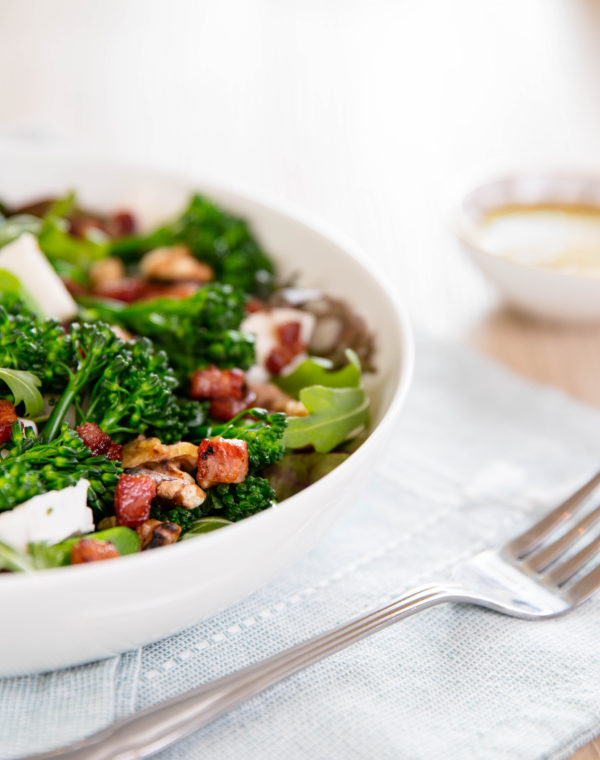 Steamed Bimi® Broccoli, Pancetta & Goat's Cheese Salad with Walnuts