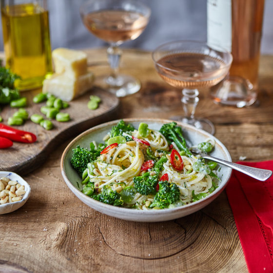 Zesty Lemon and Creamy Pasta with Bimi® Broccoli, Broad Beans, Parmesan, Pine Nuts and Chilli
